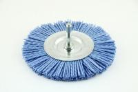 Щетка дисковая с хвостовиком из нейлона D=75х6мм Z цирконий голубой